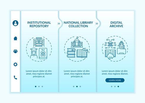 Kinds of digital literature onboarding vector template