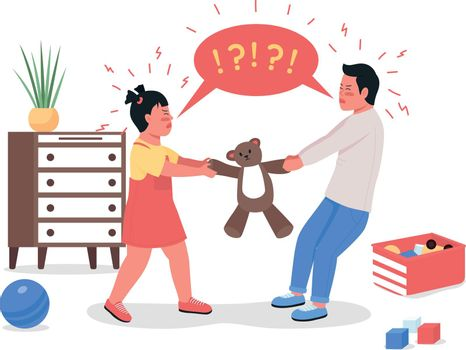 Quarreling children flat color vector detailed characters
