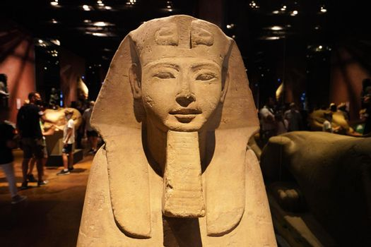 TURIN, ITALY - AUGUST 19, 2021: frontal view of Egyptian sphinx statue at the Egyptian Museum of Turin, Italy
