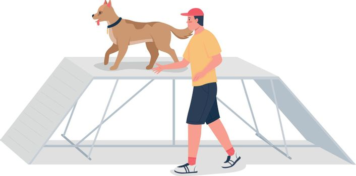Man training dog on obstacle course flat color vector detailed character
