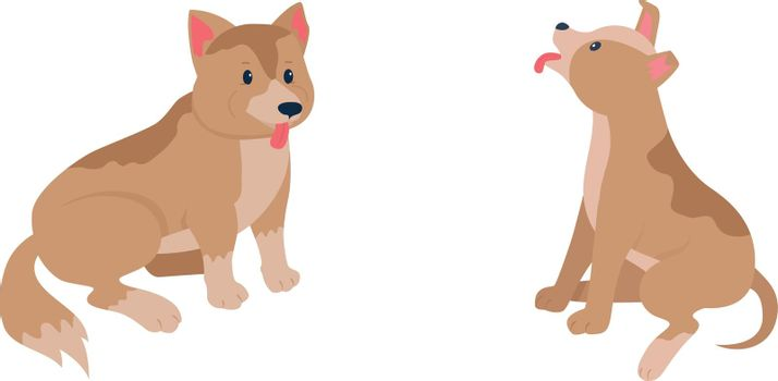 Happy puppies flat color vector detailed character set