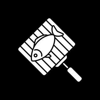 Fish on grill grate dark mode glyph icon