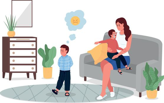 Mother with quarreling children flat color vector detailed characters
