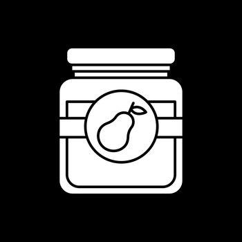 Pear jam in glass jar dark mode glyph icon