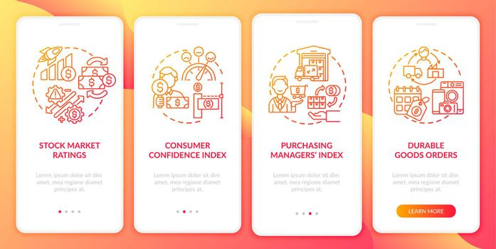 Consumer confidence index onboarding mobile app page screen with concepts