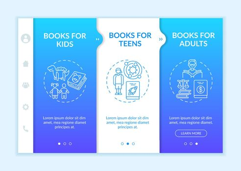 Several kinds of literature onboarding vector template