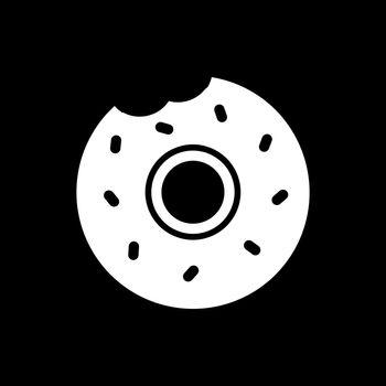 Bitten donut dark mode glyph icon