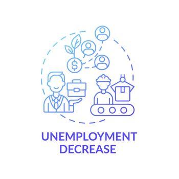 Unemployment decrease concept icon