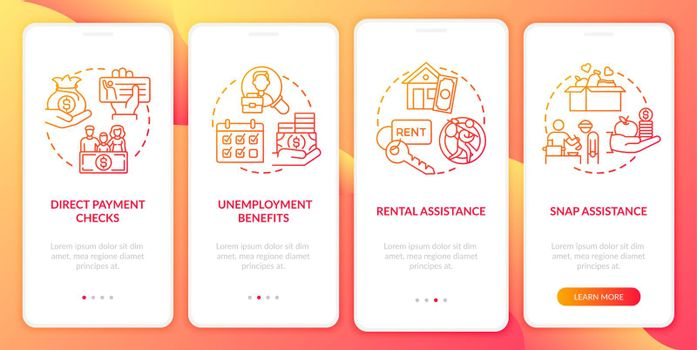 Unemployment benefits onboarding mobile app page screen with concepts