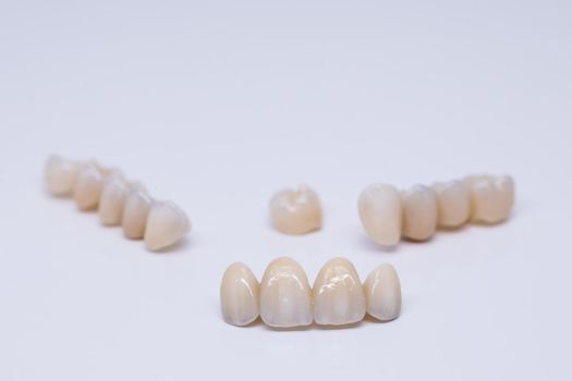 Metal Free Ceramic Dental Crowns. Ceramic zirconium in final version. Staining and glazing. Precision design and high quality materials