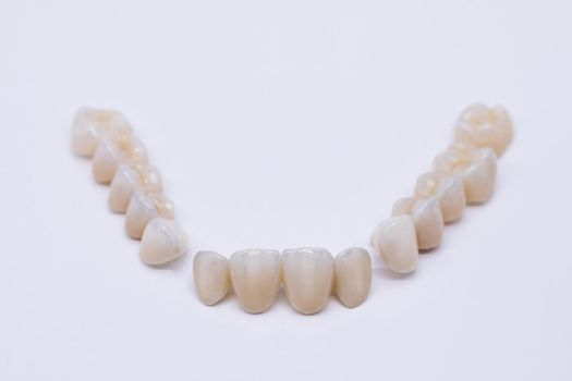 Ceramic zirconium in final version. Staining and glazing. Precision design and high quality materials. Metal Free Ceramic Dental Crowns.