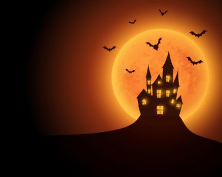 scary haunted castle with yellow moon and flying bats
