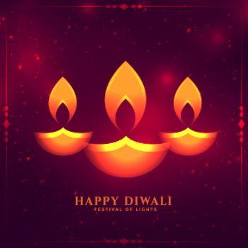 glowing diwali diya design card