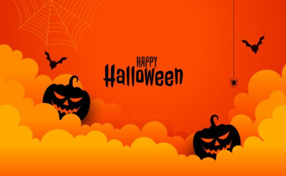 happy halloween spooky card in paper cut style