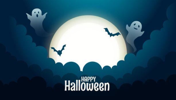 spooky ghost card for halloween festival