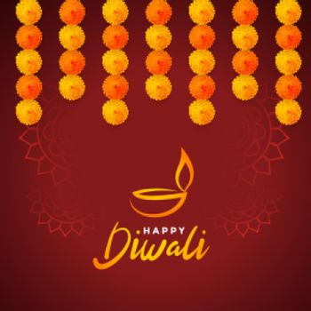 religious happy diwali festival card with marigold flowers
