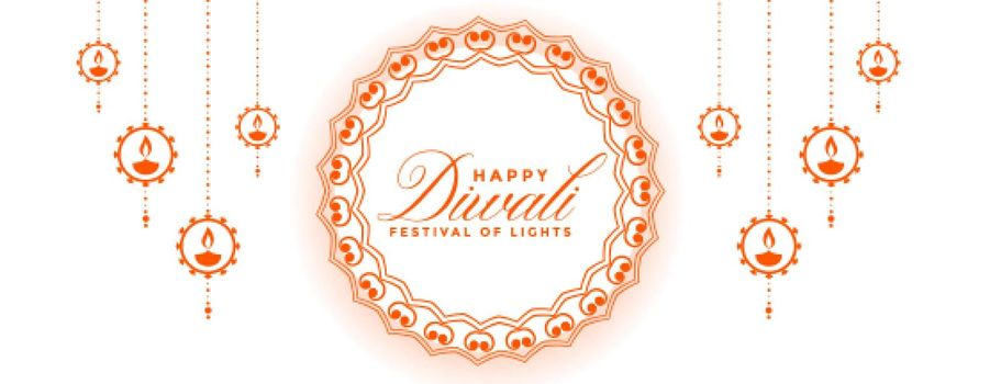 white diwali banner with festival decoration