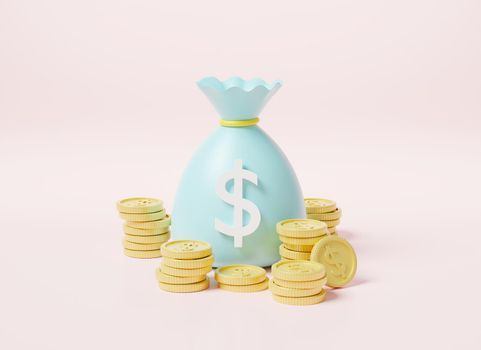 Money bag with stack coins and dollar banknote icon