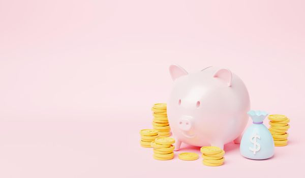 Piggy bank with coin stack and money bag on pink background