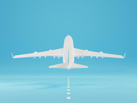 Airplane landing or taking off over ground on runway from the airport