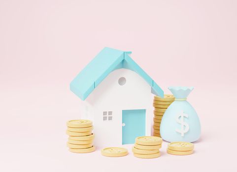 House, coins and money bags on pink background, Property Investment real estate business concept