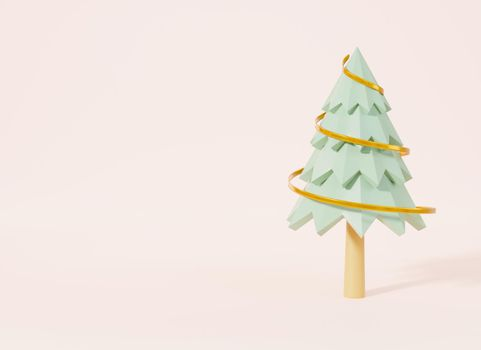 Christmas tree with ribbon decorations cartoon pines for banner greeting card