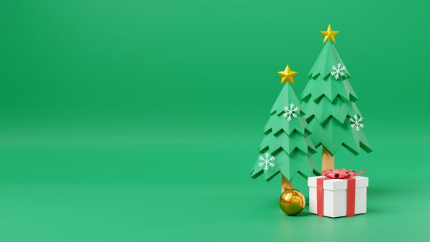 Merry Christmas and Happy New Year on green background space for text