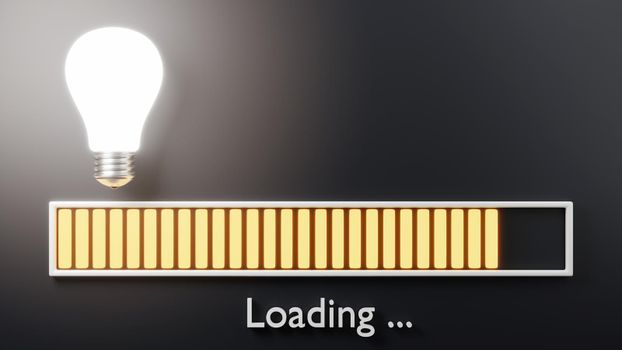 Loading bar progressing with bulb almost complete, Idea loading concept