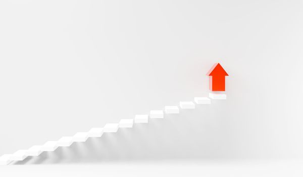 Stairs step up going success upward on interior white wall, Business growth