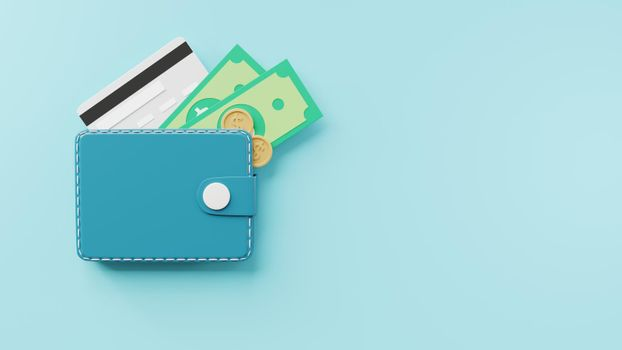 Leather wallet with credit cards, coins and banknote bill inside icon