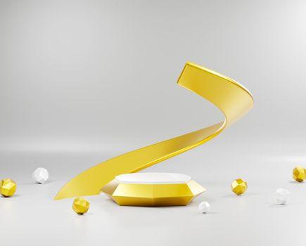 Scene podium stand minimal, Gold premium pedestal for platform stand product display