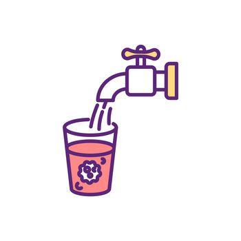 Water contamination RGB color icon