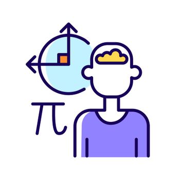 Mathematical intelligence RGB color icon