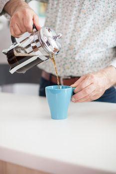 Steaming mug of fresh coffee