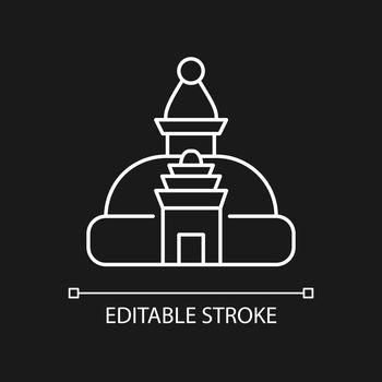 Swayambhu stupa white linear icon for dark theme