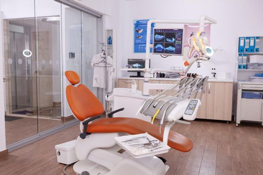 Empty dentistry orthodontist stomatology office with nobody in it