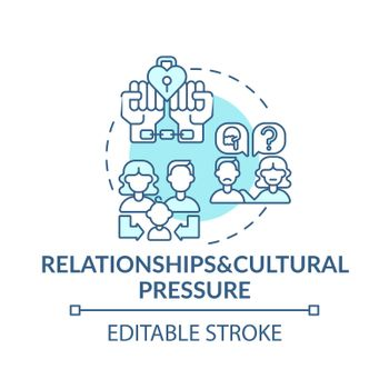 Relationship and cultural pressure turquoise concept icon