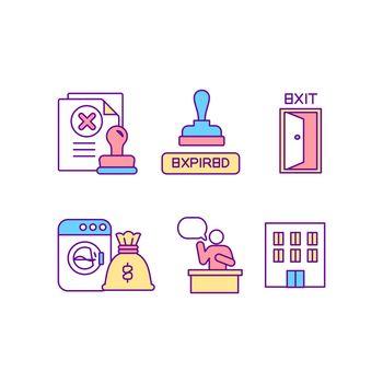 Legislation for illegal cases RGB color icons set
