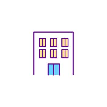 Residential building RGB color icon