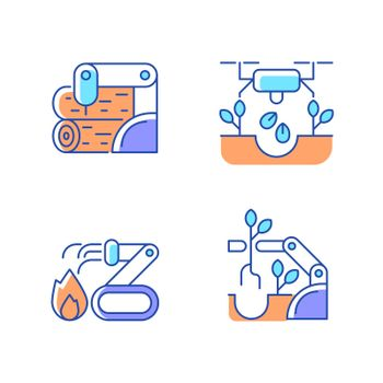 Automation for wellbeing RGB color icons set