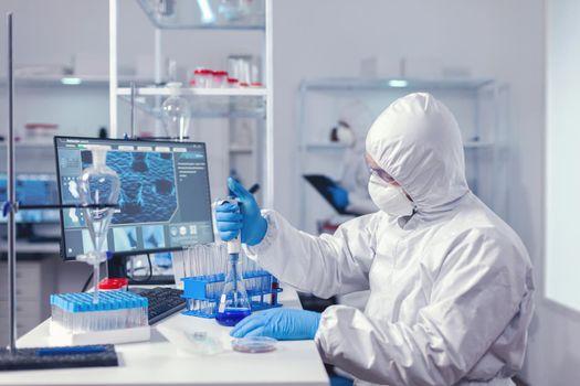 Biochemistry engineer conducing coronavirus experiment