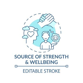 Source of strength and wellbeing turquoise concept icon
