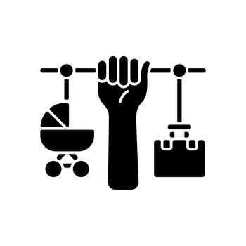 Combining motherhood and career black glyph icon