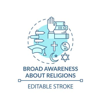 Broad awareness about religion turquoise concept icon