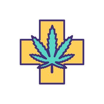 Medical marijuana RGB color icon