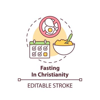 Fasting in Christianity concept icon