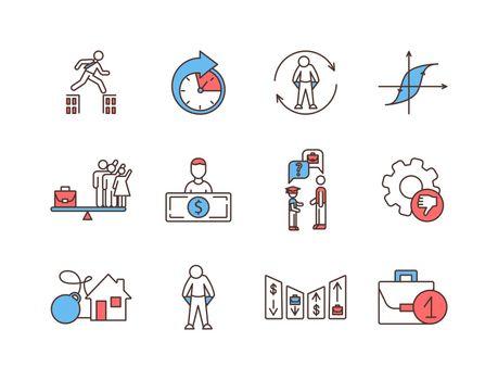 Unemployment RGB color icons set