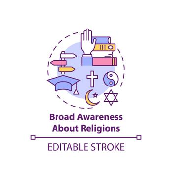 Broad awareness about religion concept icon