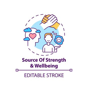 Source of strength and wellbeing concept icon