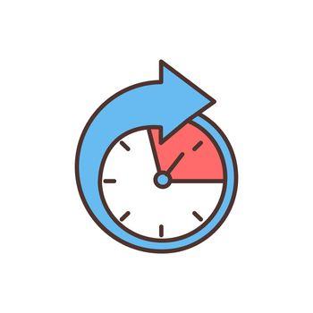Part-time employment RGB color icon